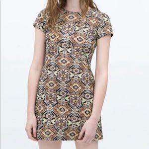 ZARA Metallic Jacquard Mini Dress S